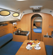 The practical and carefully designed main cabin offers a comfortable living spac